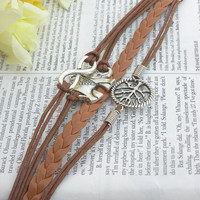 Tree of life bracelet infinity bracelet elephant bracelet Brown Braclet for holiday his and hers bracelet braid #BST-160
