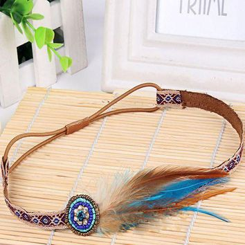 ONETOW Lovely Fashion Festival Feather Headband Hippie Headdress Hair Accessories Boho New Arrival