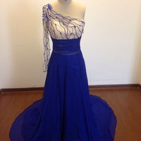 One Shoulder Prom Dress,Blue Evening Gowns,Long Tail Evening Dresses,A-line Bridesmaid Dresses