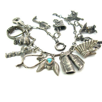 Sterling Silver Charm Bracelet. Cowboy & Indian Theme. Thirteen 3 D Charms, Turquoise. Vintage 1940s Southwestern Jewelry. 6.75 in
