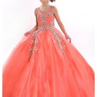2016 Girls Pageant Dresses For Little Girl Ball Gown Tulle Crystals Beaded Coral Flower Girl Gown Kids Evening Gowns