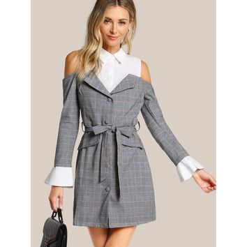 Poplin Insert Plaid Dress