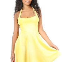 Oops Outlet Women's Halter Neck Backless Flared Mini Party Skater Dress Plus Size (US 16/18) Yellow