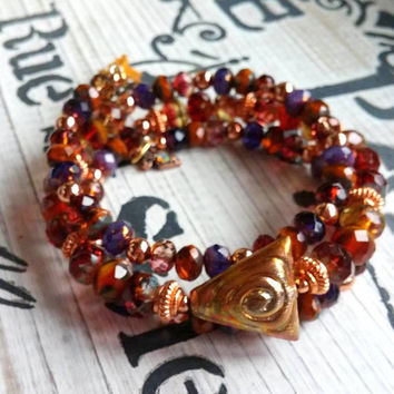 Czech Glass Wrap Bracelet Bohemian Jewelry Purple Rose Brown Copper Tassel Bracelet