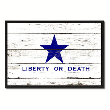 Liberty or Death Flag Goliad Texas Battle Independence Military Flag Vintage Canvas Print with Picture Frame Home Decor Man Cave Wall Art Collectible Decoration Artwork Gifts