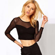 Black Long Sleeve Cut-Out Mesh Crop Top