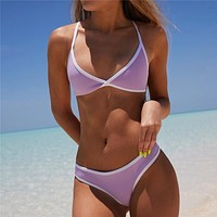 Cute Solid Color Triangle Bikini