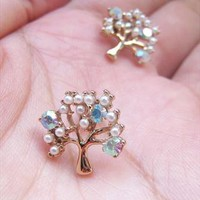 Sparkly Trees Earring Studs.Small Crystal Embellished Studs from Letsglamup