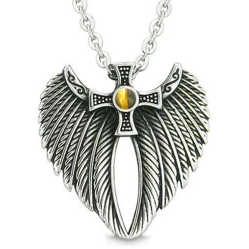 Angel Wings Celtic Viking Cross Magic Powers Amulet Tiger Eye Pendant 22 inch Necklace