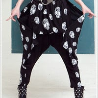 P437 Japan Korea Fashion Soft Fleece Unisex Skull Baggy Harem Pants