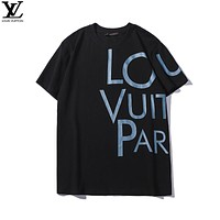 LV Louis Vuitton 2019 early spring new tide brand letter printed round neck T-shirt Black