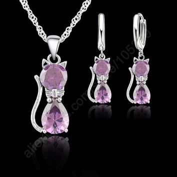 Purple Real Pure 925 Sterling Silver Cute Cat Shaped Animal Necklace and Earrings Set