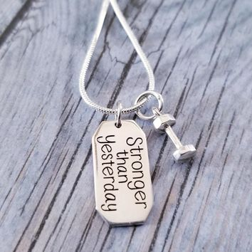 Stronger Than Yesterday Dumbbell Necklace