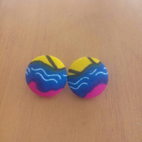 Pink Blue Yellow Black Afrocentric Ankara Dutch African wax print kitenge circle button statement post stud earrings