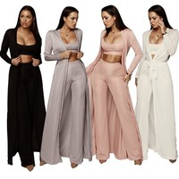 Women bandage lace up long sleeve cardigan coat loose wide leg pants tube top 3 piece set for female women's suits