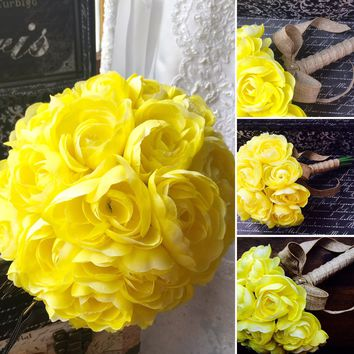 Yellow Ranunculus Wedding Bouquet, Yellow Bridal bouquet, Yellow Bouquet