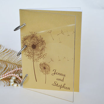 Wedding Guest Book Modern design Transparent organic glass, Personalized with names Dandelion Seed