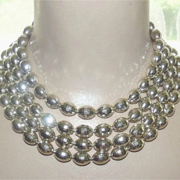 Vintage 50s Four Strand Silver Faceted Disco Ball Big Bead Necklace Choker ATOMIC