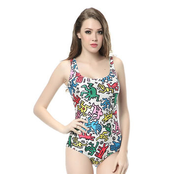 Bathing Suit Novelty Keith Haring 3d Digital Printed Women Swimsuit Beach Wear Sexy Sleeveless One Piece Swimwear