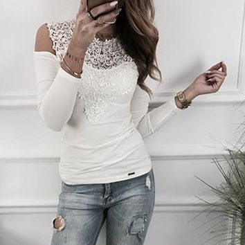 Women shirts Long Sleeve Lace Patchwork blouses shirts Cold shoulder Women Tops Plus Size Blusas Shirts Femininos WS4833M