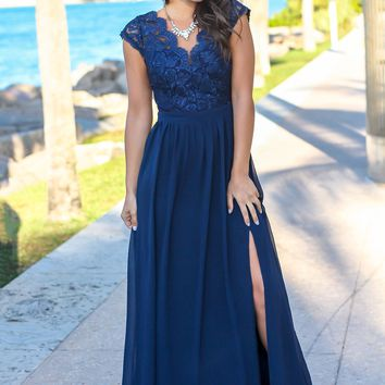 Navy Lace Top Maxi Dress with Open Back and Side Slit