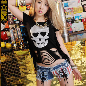 Fashion Sexy Gothic Skull Backless Tops Punk Rock Singlet Tassel Crop Tops  Hip hop t-shirt Dance Costume