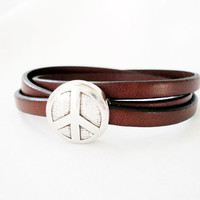 Wrap Leather bracelet for men. Peace bracelet for women or men. Unisex bracelet. Mens leather bracelet, .
