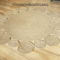 Flower design Rug by natural jute, 4 ft ( 120 cm ), no.008