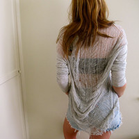 Gray Shredded Top by inzoopsia on Etsy