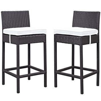 White Lift Bar Stool Outdoor Patio Set of 2