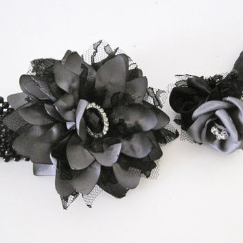 Bracelet Corsage Boutonniere Set Prom Homecoming Wedding Shown in Slate Grey with Black Lace and Black Rhinestone Accent Custom Order