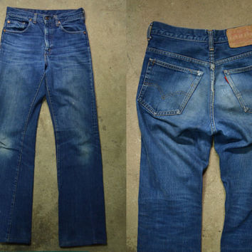 Vintage Early 70's Blue Indigo Denim Levi's 517 Single Stitch Number 2 Stamped Jeans