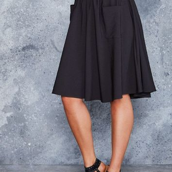 BLACK YOKE MIDI SKIRT