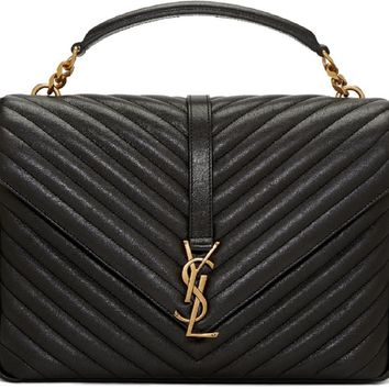 Saint Laurent YSL Handbag Top Handle Bag Satchel Monogram College Poncho Black Nero Gold-Toned Hardware 392738