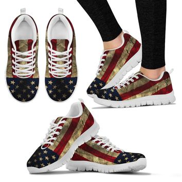 Aged Flag White Border Women's Sneakers
