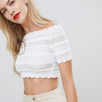 ASOS DESIGN short sleeve crochet crop top at asos.com