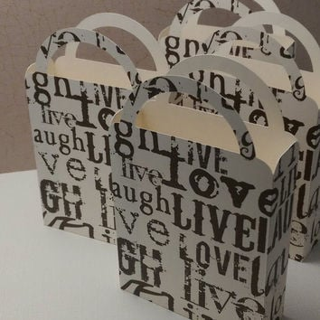 Party Favor Bag/Box Love, Live, Laugh for Birthday Parties, Weddings, Bridal Showers, Garden Parties, Anniversary,  Brown, Ivory (4)
