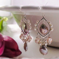 Boho pearl chandelier earrings Blush bridal earrings Bohemian wedding jewelry Pearl bridal jewelry Bridesmaid chandelier earrings Gift ideas