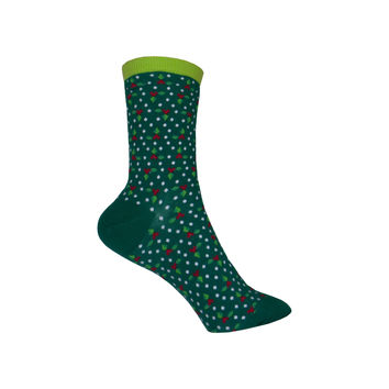 Holly Berries and Dots Crew Socks in Pine