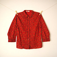 Vintage. MINT. 50's Red Floral Button Up Blouse. Shirt. Peter Pan Collar. 3/4 Sleeves. Tailored. Retro. Classic. Rockabilly. Small Medium