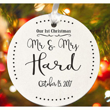 First Christmas ornament, Our First Christmas as Mr & Mrs ,Personalized christmas tree ornament, tree ornament , christmas gift (Ch15)