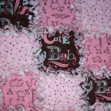 Baby Girl Blanket Rag Quilt Pink Brown White by KeriQuilts