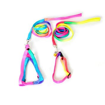Dogs Collars Strengthen Colorful Small-sized Pets Puppy Dog Cat Lead Harness Leash Traction Rope Nylon