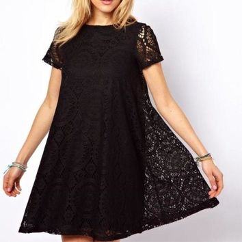 2018 Fashion Female Summer dress women Style Solid Short Sleeves casual dress plus size S-4XL sundress hollow out lace vestidos