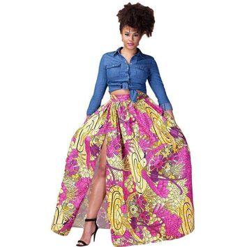 Rosy Gold Printed High Split Maxi Skirt