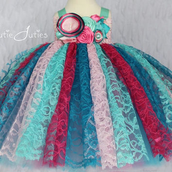 Pink, Hot Pink, Turquoise, Aqua, Lace Tutu Dress- Birthday, 1st birthday, toddler, cotton candy, girl, pageant dress, Flower Girl, smash