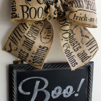 Halloween Wreath Alternative CHALKBOARD Metal Sign Hanging Burlap Bow Blackboard - Write your own message - Interchangeable Bows
