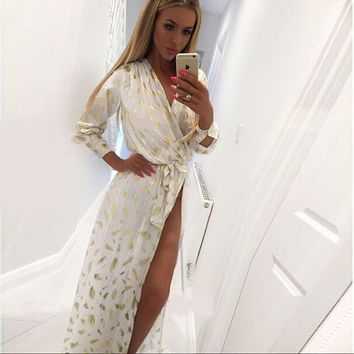 2016 European fashion dresses new print gold feather pattern high side split long sleeve elegant maxi dress  plus size