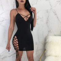 Fashion Solid Color Hollow Crisscross Strappy Strap Sleeveless Deep V-Neck Bodycon Mini Dress