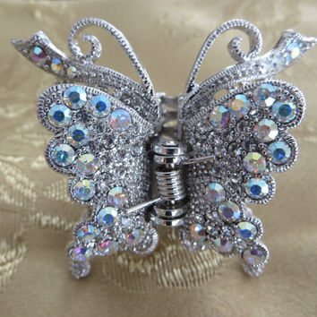 Vintage Jeweled Butterfly Hair Claw Bridal Piece